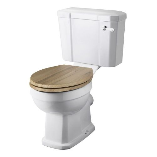 Rockingham Close Coupled Toilet & Natural Walnut Wooden Seat
